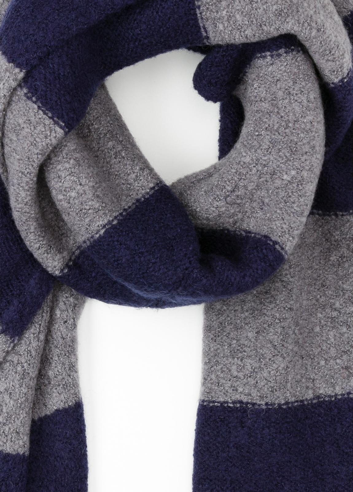 Bufanda de rayas anchas color azul, 180 x 40 cm, mezcla de lana cepillada. - Ítem1