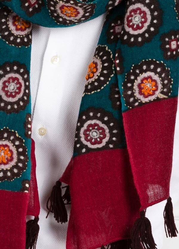 Foulard estampado étnico color verde 55 x 180 cm. 100% lana lavada. - Ítem1
