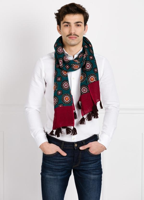 Foulard estampado étnico color verde 55 x 180 cm. 100% lana lavada.