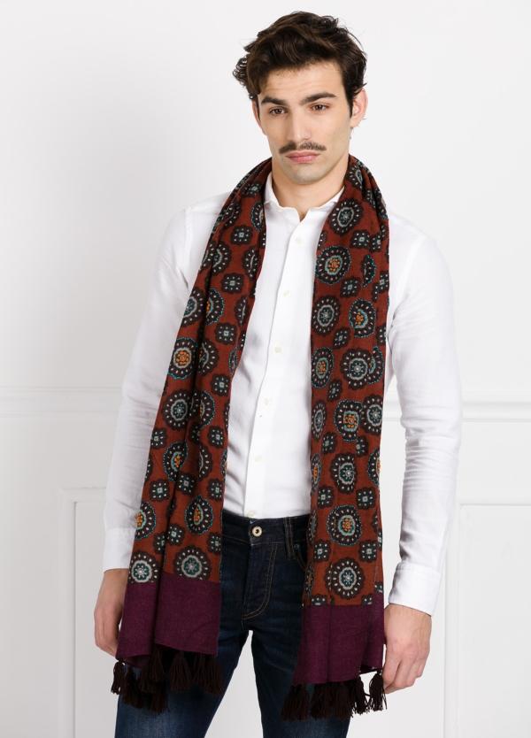 Foulard estampado étnico color granate 55 x 180 cm. 100% lana lavada.