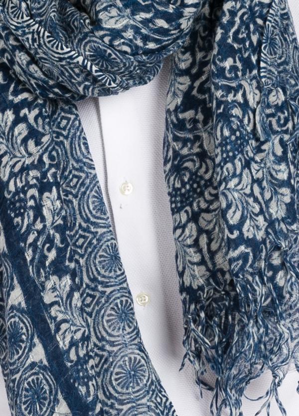 Foulard estampado floral color azul modelo GIGLIO 100 x 190 cm. 100% Lana.