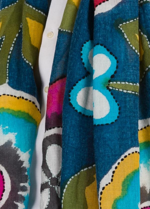Foulard estampado floral color azul modelo TULIPANO 100 x 200 cm. 100% Lana.