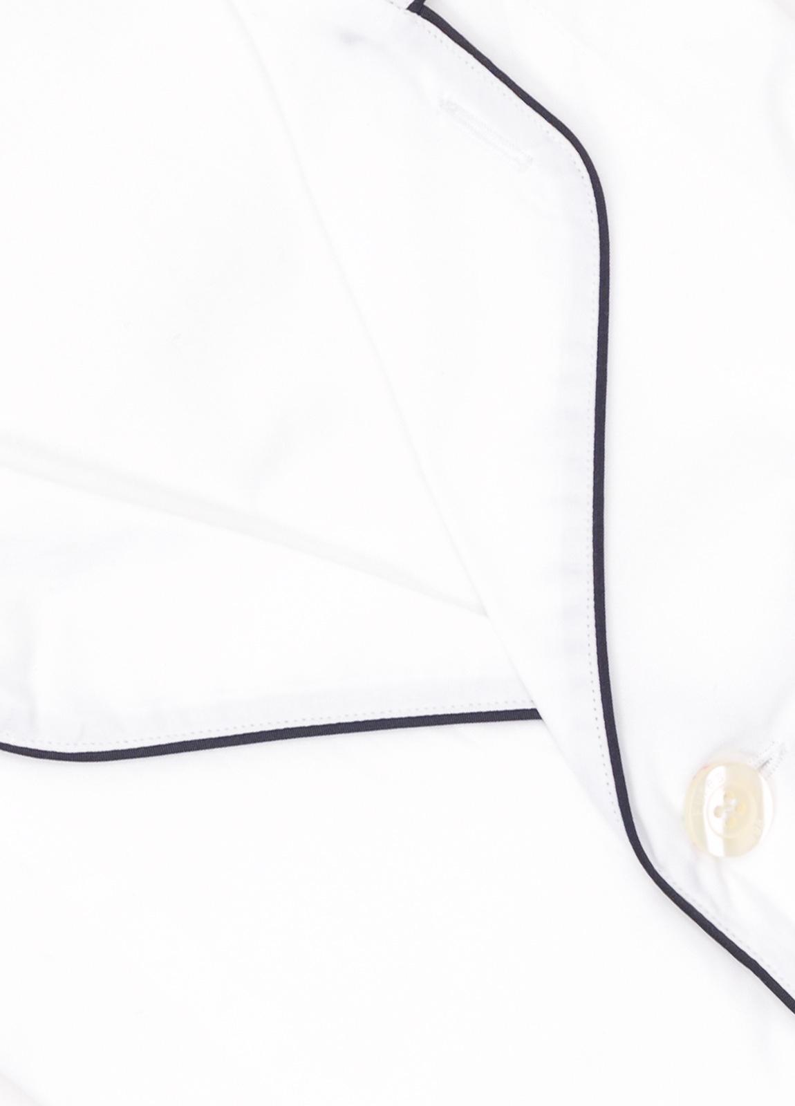 Pijama LARGO dos piezas, pantalón largo con cinta no elástica y funda incluida color blanco con vivos en contraste. 100% Algodón. - Ítem1