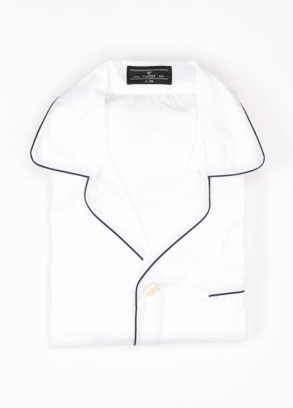 Pijama LARGO dos piezas, pantalón largo con cinta no elástica y funda incluida color blanco con vivos en contraste. 100% Algodón.