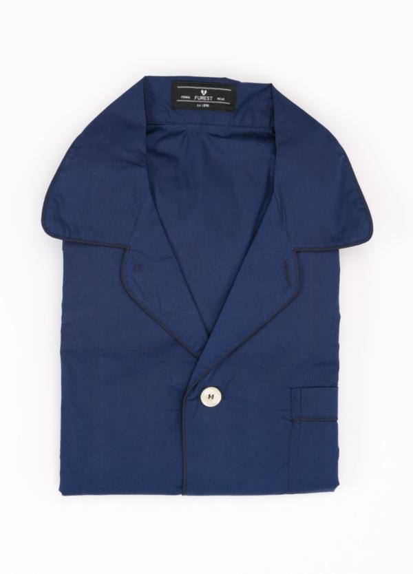 Pijama LARGO dos piezas, pantalón largo con cinta no elástica y funda incluida color azul marino con vivos en contraste. 100% Algodón.