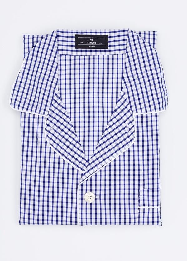 Pijama LARGO dos piezas, pantalón largo con cinta no elástica y funda incluida color azul con estampado cuadro ventana. 100% Algodón.