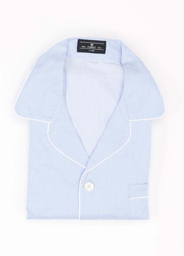 Pijama LARGO dos piezas, pantalón largo con cinta no elástica y funda incluida color celeste con estampado microraya. 100% Algodón.