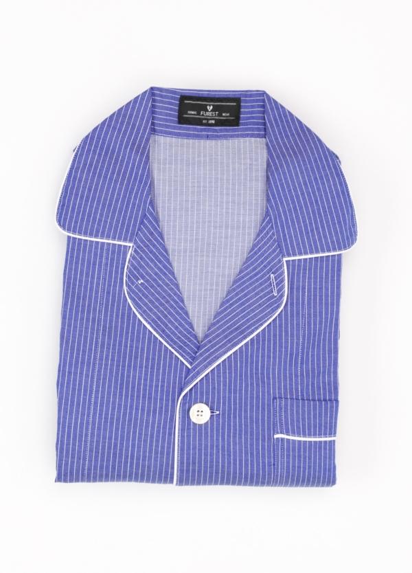 Pijama LARGO dos piezas, pantalón largo con cinta no elástica y funda incluida color azul con estampado de rayas. 100% Algodón.