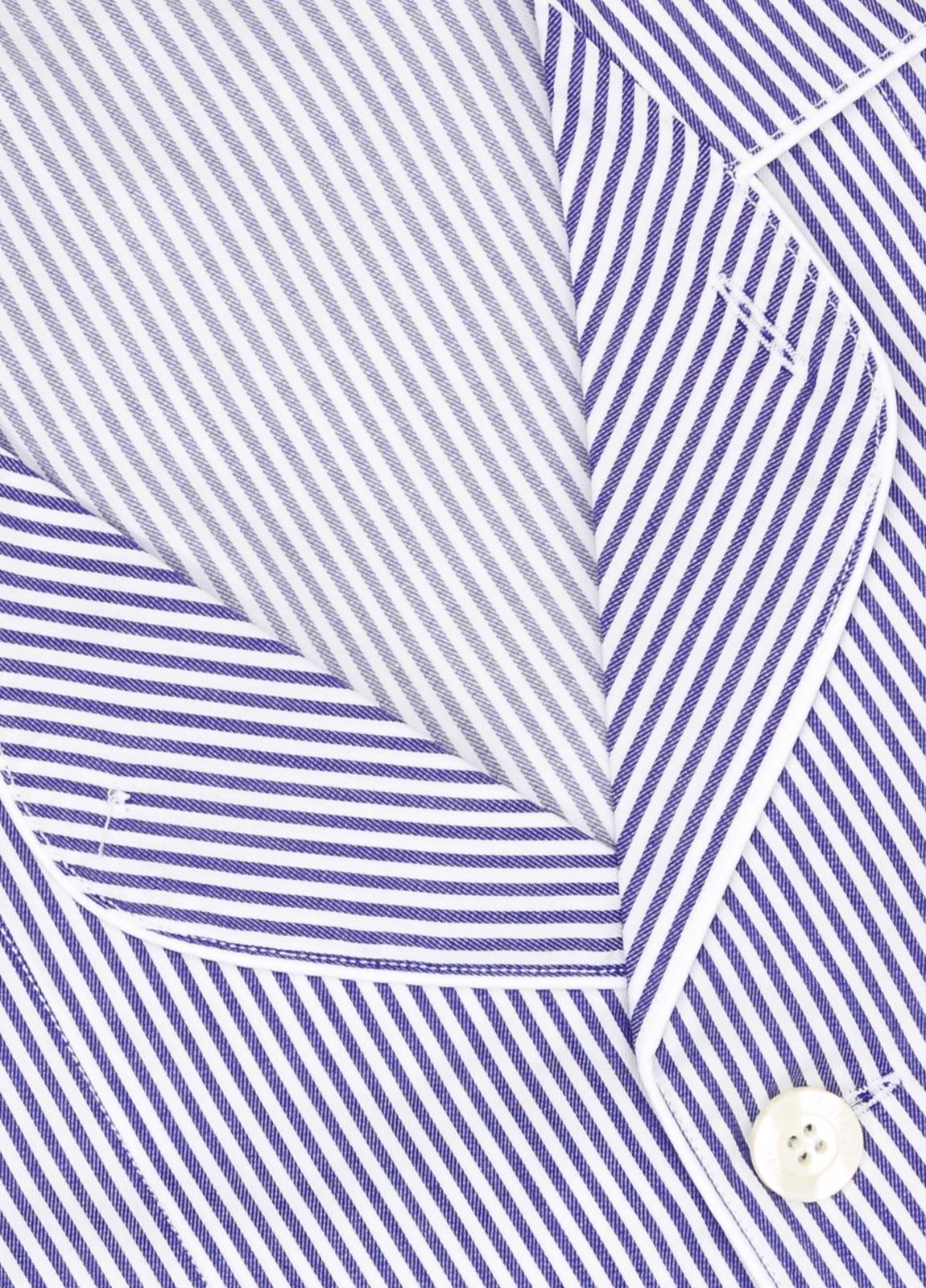 Pijama LARGO dos piezas, pantalón largo con cinta no elástica y funda incluida color azul con estampado de rayas. 100% Algodón. - Ítem1