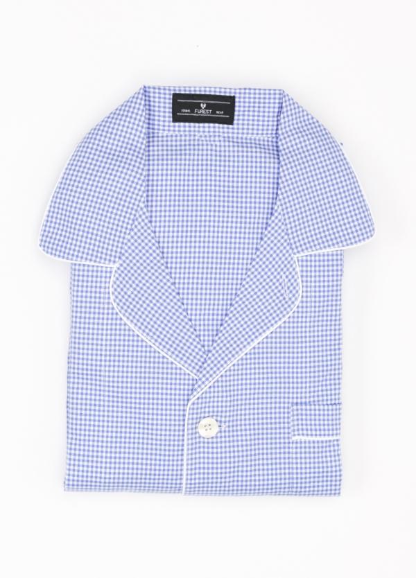 Pijama LARGO dos piezas, pantalón largo con cinta no elástica y funda incluida color azul con estampado de cuadritos. 100% Algodón.