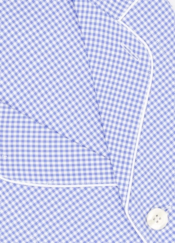Pijama LARGO dos piezas, pantalón largo con cinta no elástica y funda incluida color azul con estampado de cuadritos. 100% Algodón. - Ítem1