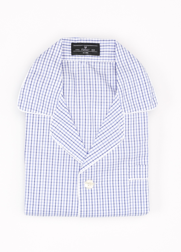 Pijama LARGO dos piezas, pantalón largo con cinta no elástica y funda incluida color azul con estampado de cuadros. 100% Algodón.