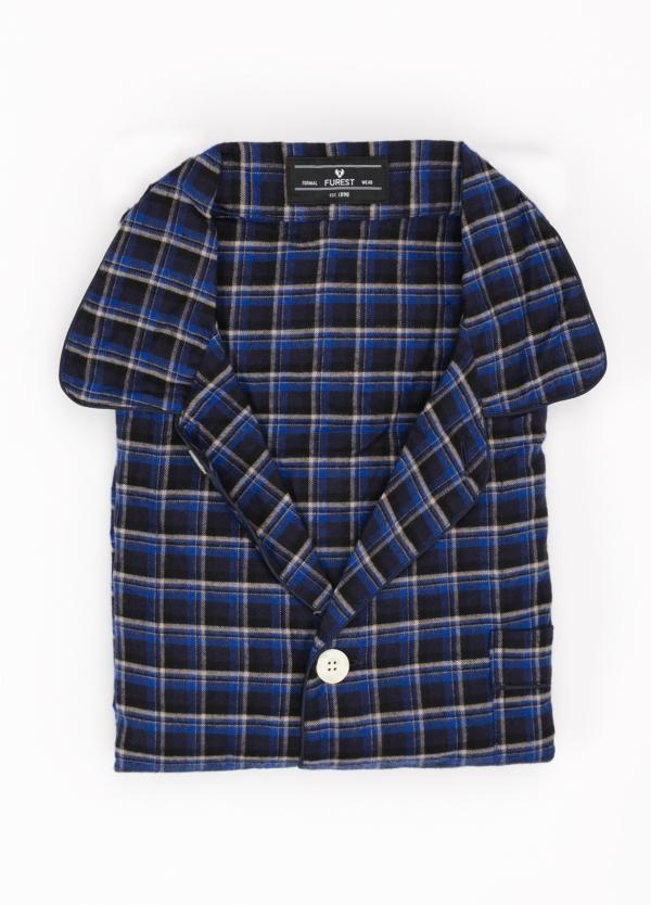 Pijama LARGO dos piezas, pantalón largo con cinta no elástica y funda incluida color azul marino con estampado de cuadros. 100% Algodón.