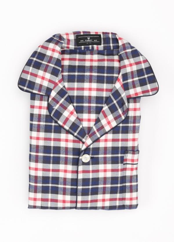 Pijama LARGO dos piezas, pantalón largo con cinta no elástica y funda incluida color rojo y azul con estampado de cuadros. 100% Algodón.
