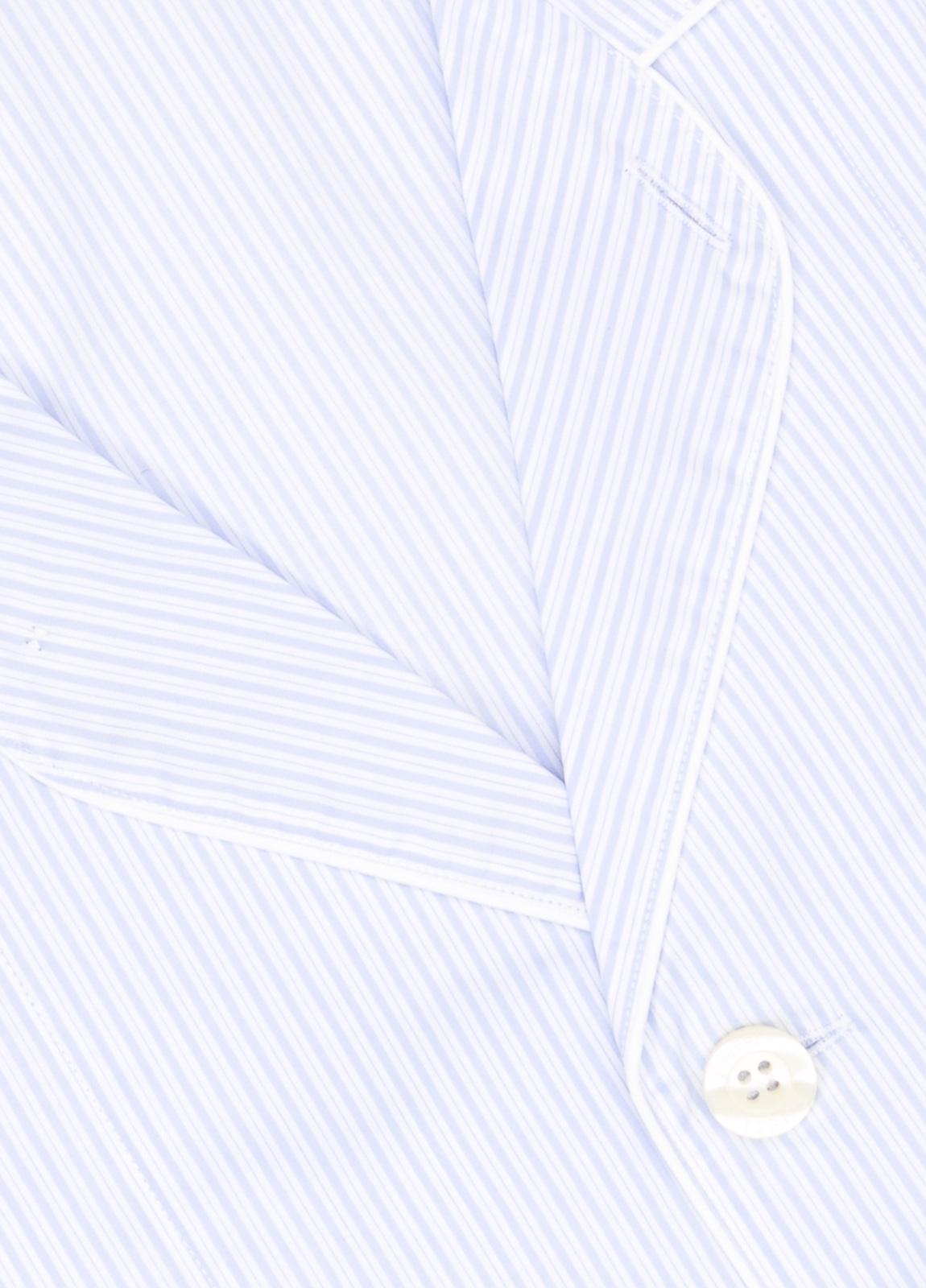 Pijama LARGO dos piezas, pantalón largo con cinta no elástica y funda incluida color celeste con estampado de rayas. 100% Algodón. - Ítem1