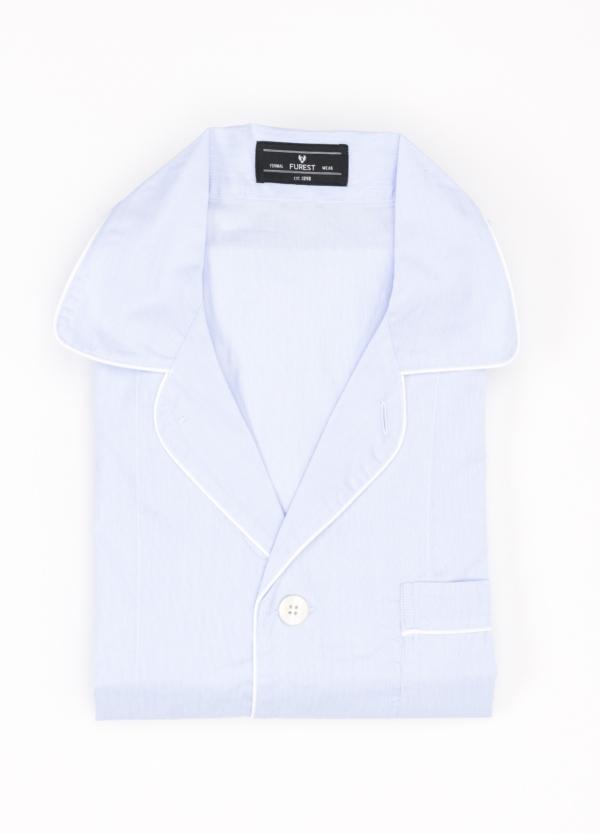 Pijama LARGO dos piezas, pantalón largo con cinta no elástica y funda incluida color celeste. 100% Algodón.