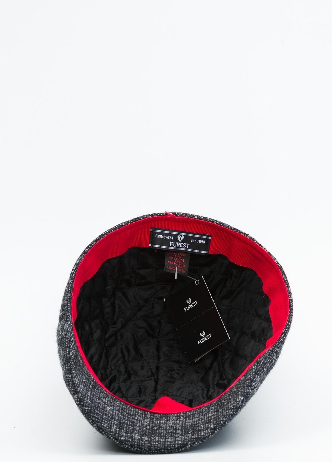 Gorra tipo ascot color gris tejido de lana con diseño jaspeado. - Ítem3