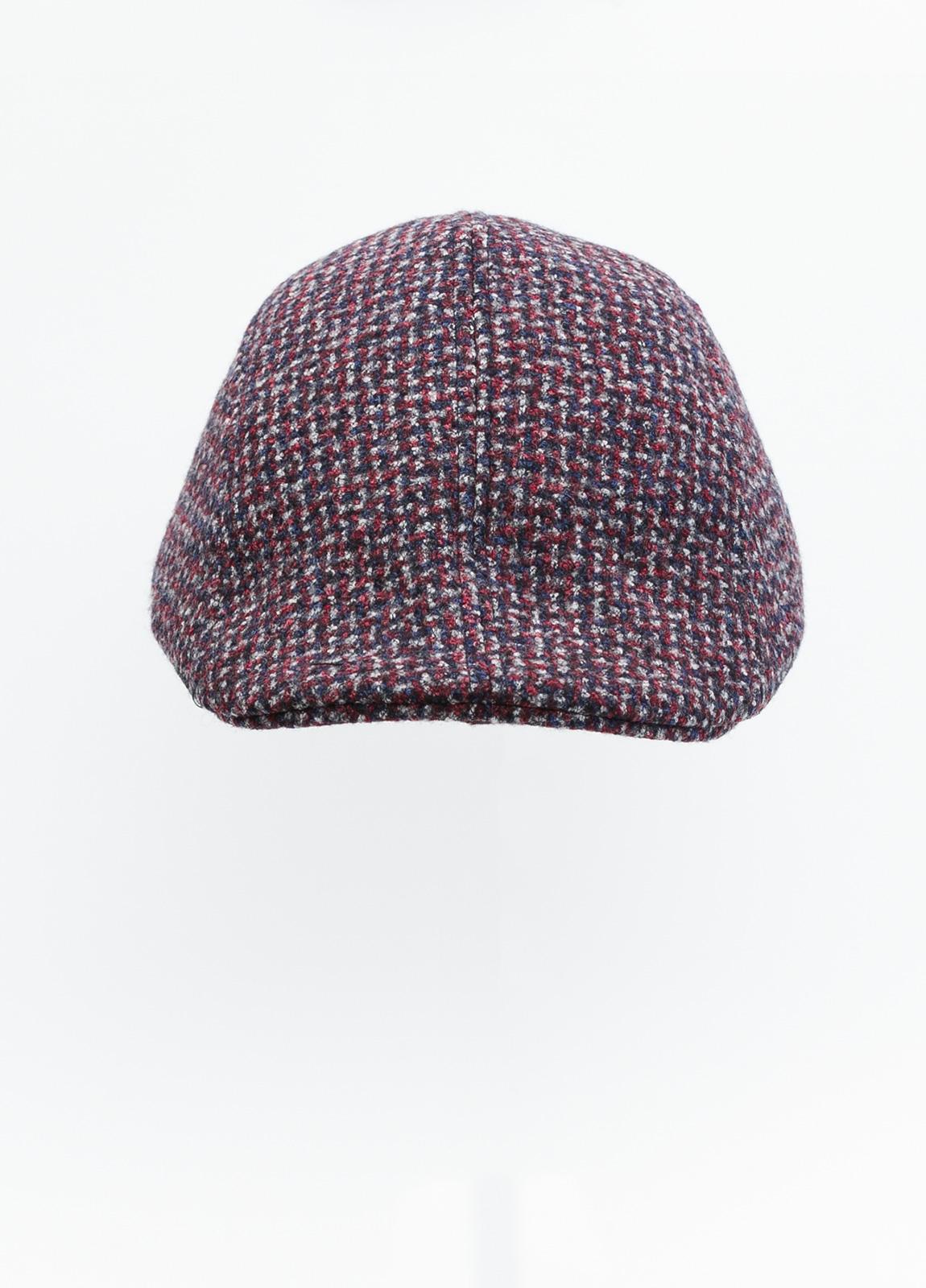 Gorra tipo ascot color granate tejido de lana con diseño jaspeado. - Ítem1