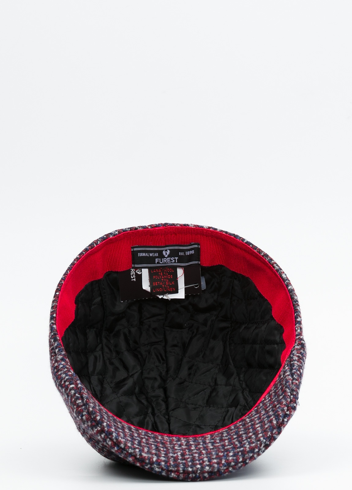 Gorra tipo ascot color granate tejido de lana con diseño jaspeado. - Ítem2