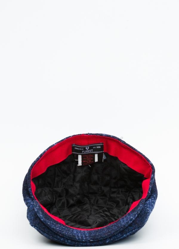 Gorra plana color azul tejido de lana con diseño de cuadros escoceses. - Ítem2