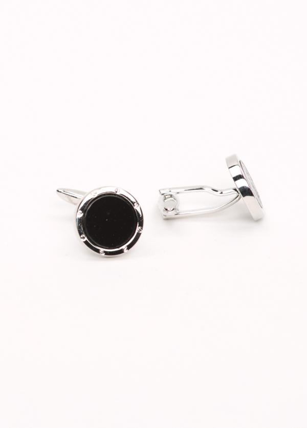 Gemelos acero con forma circular y piedra semi preciosa, color negro.
