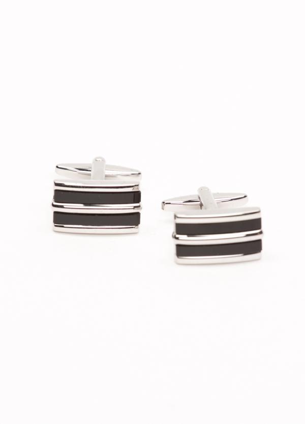 Gemelos acero con forma rectangular y piedra semi preciosa, color negro.