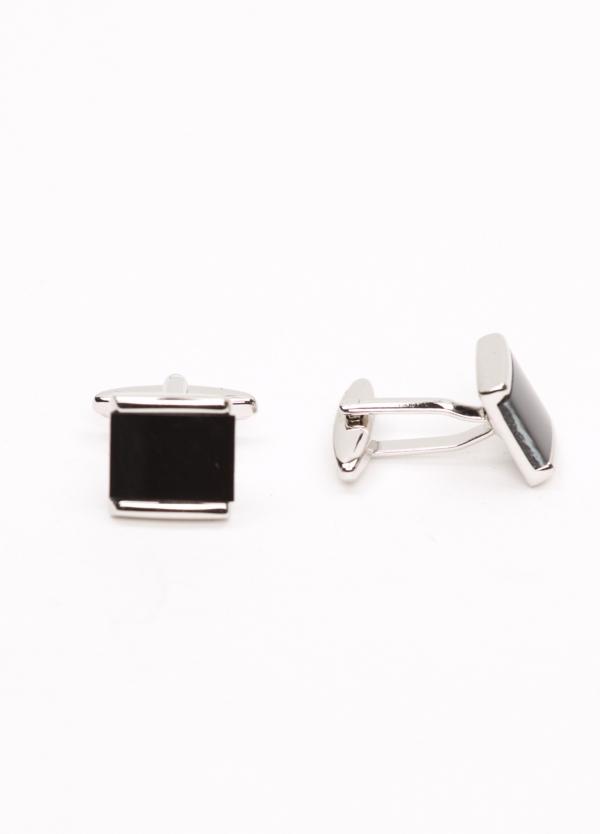 Gemelos acero con forma cuadrada y piedra semi preciosa, color negro.