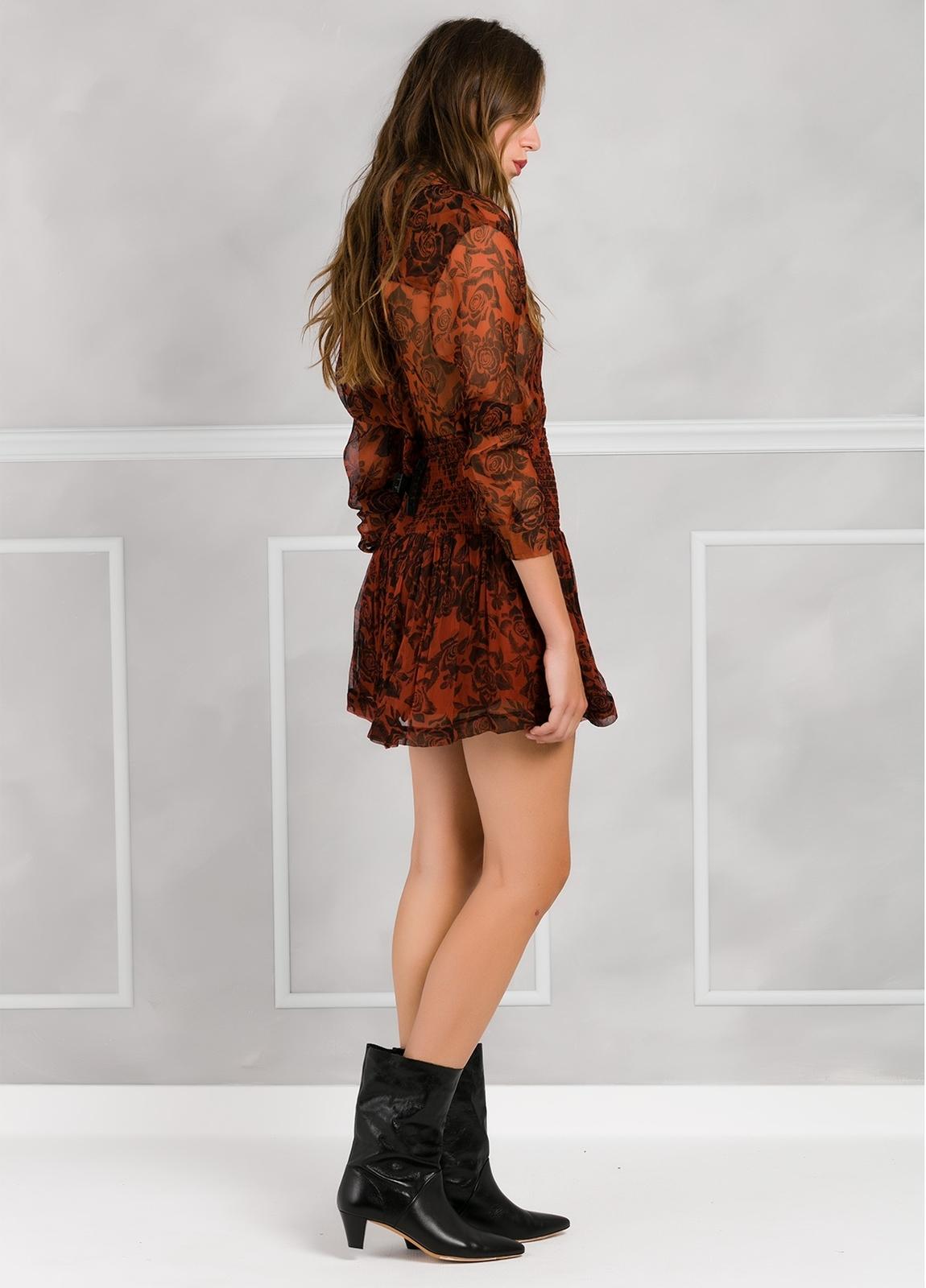 Falda plisada con fruncido en cintura, color teja y estampado floral. - Ítem2