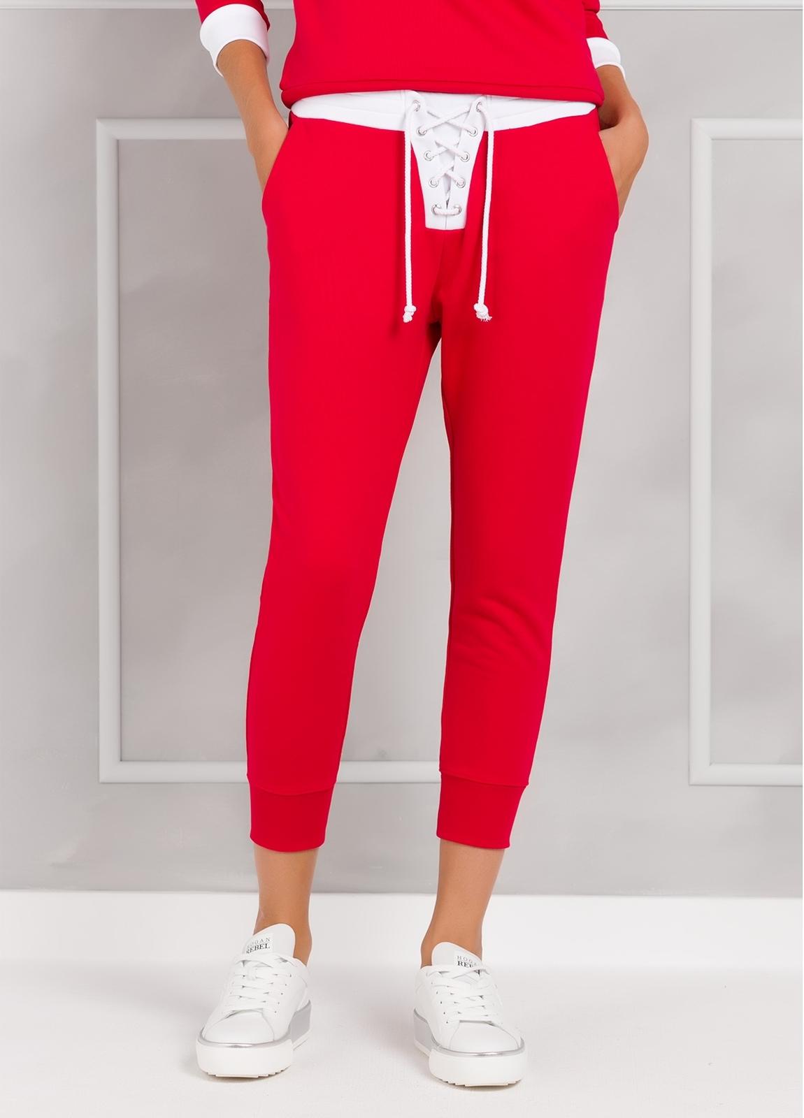 Pantalón jogging color rojo con cintura blanca con cordones, 100% Algodón. - Ítem2