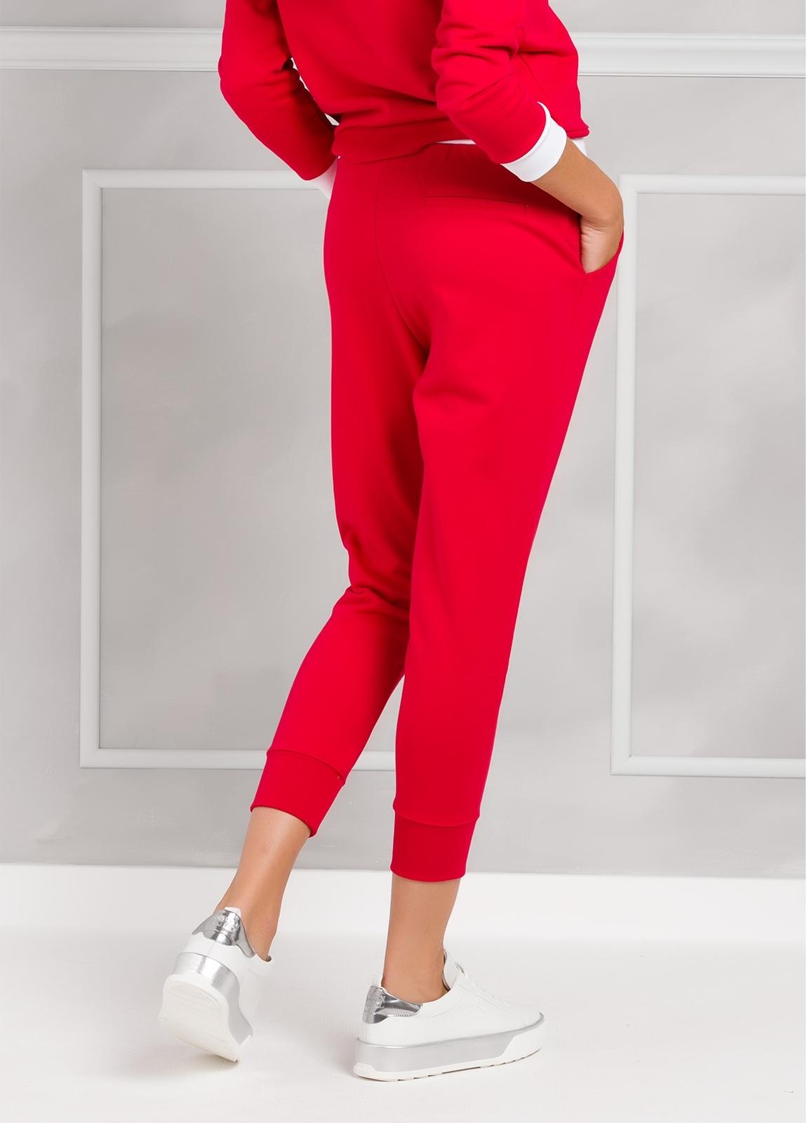 Pantalón jogging color rojo con cintura blanca con cordones, 100% Algodón. - Ítem1