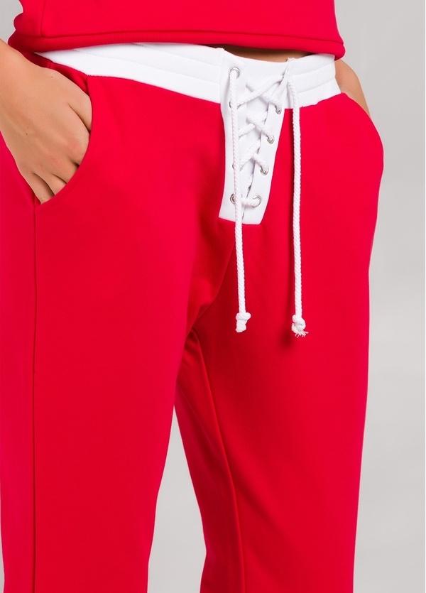 Pantalón jogging color rojo con cintura blanca con cordones, 100% Algodón. - Ítem3