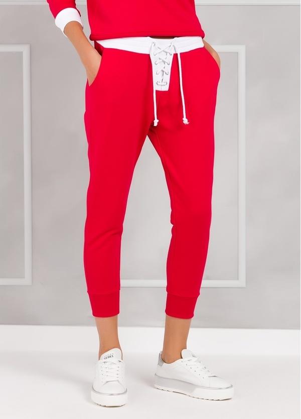 Pantalón jogging color rojo con cintura blanca con cordones, 100% Algodón.