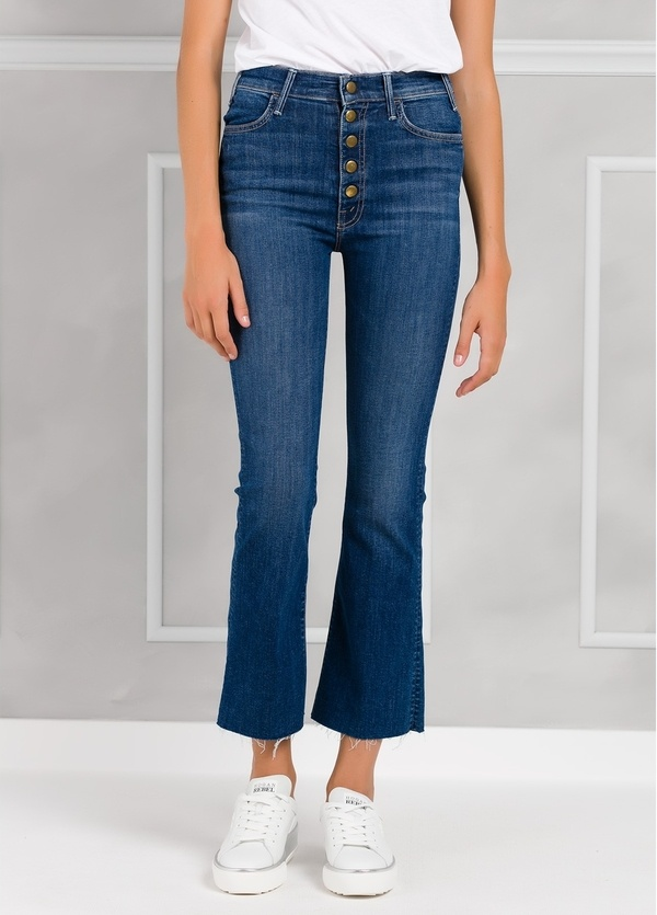 Tejano woman CROPPED JEANS con botones color denim.