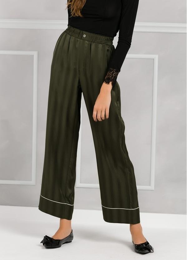 Pantalón woman fluido de corte ancho con rayas, color verde.