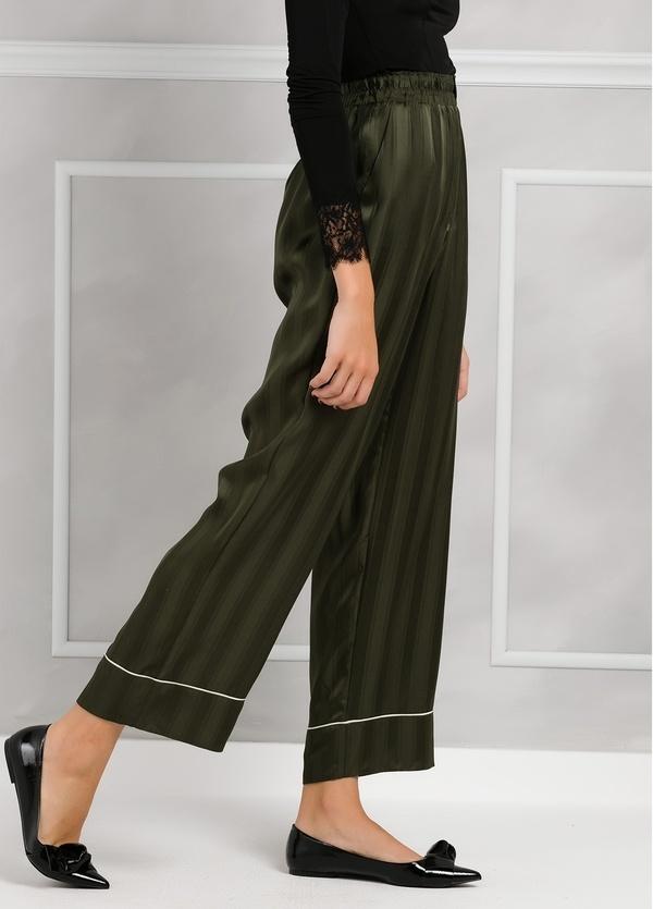 Pantalón woman fluido de corte ancho con rayas, color verde. - Ítem3