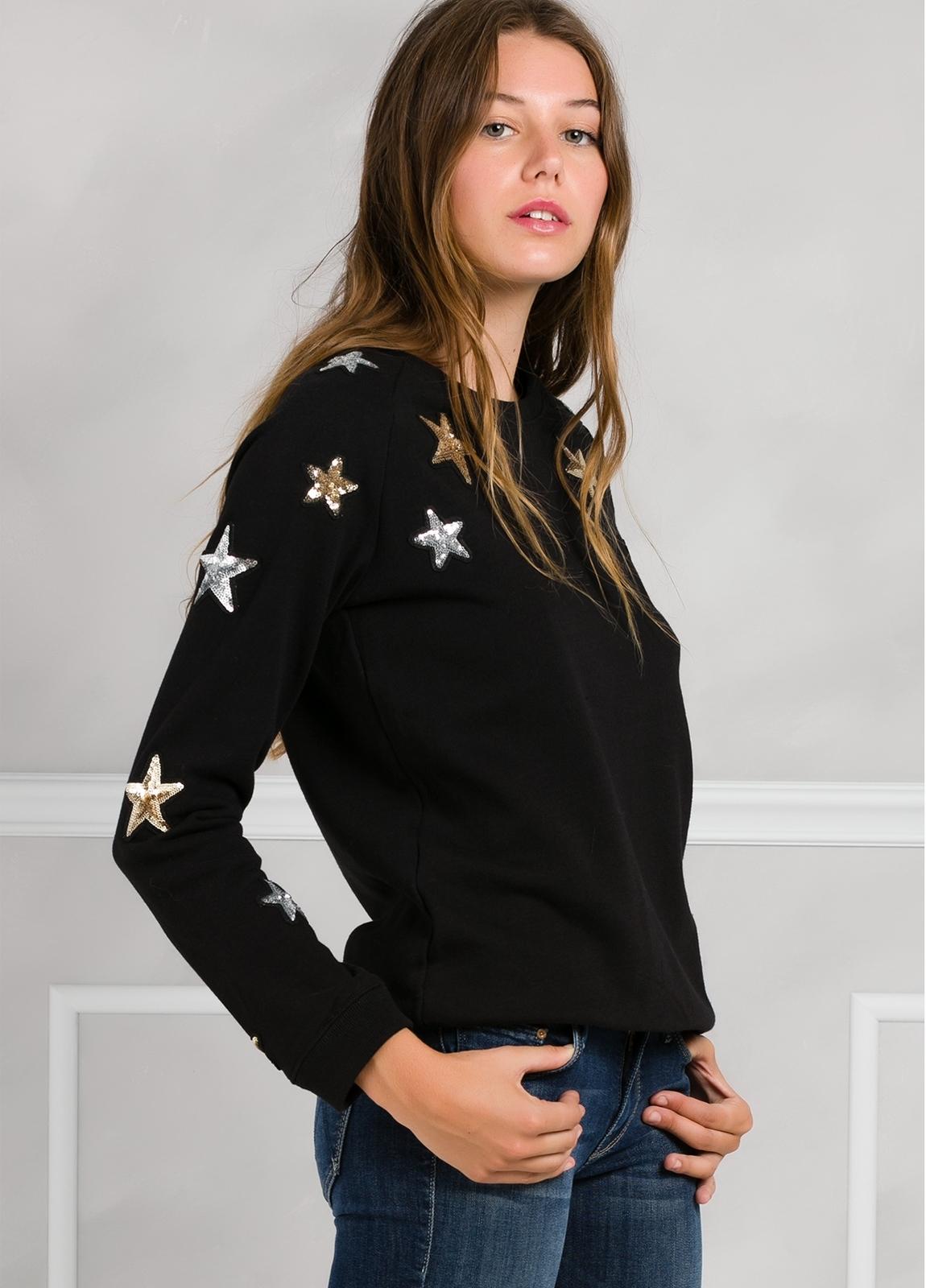 Jersey color negro con estrellas de lentejuelas bordadas. 100% Algodón. - Ítem3