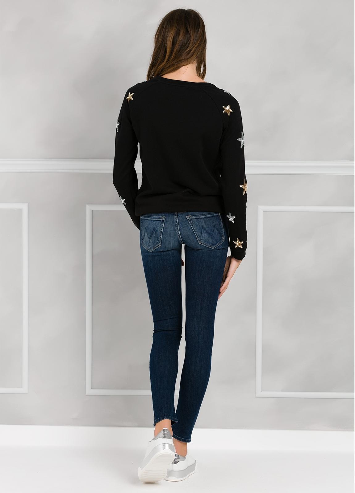 Jersey color negro con estrellas de lentejuelas bordadas. 100% Algodón. - Ítem2