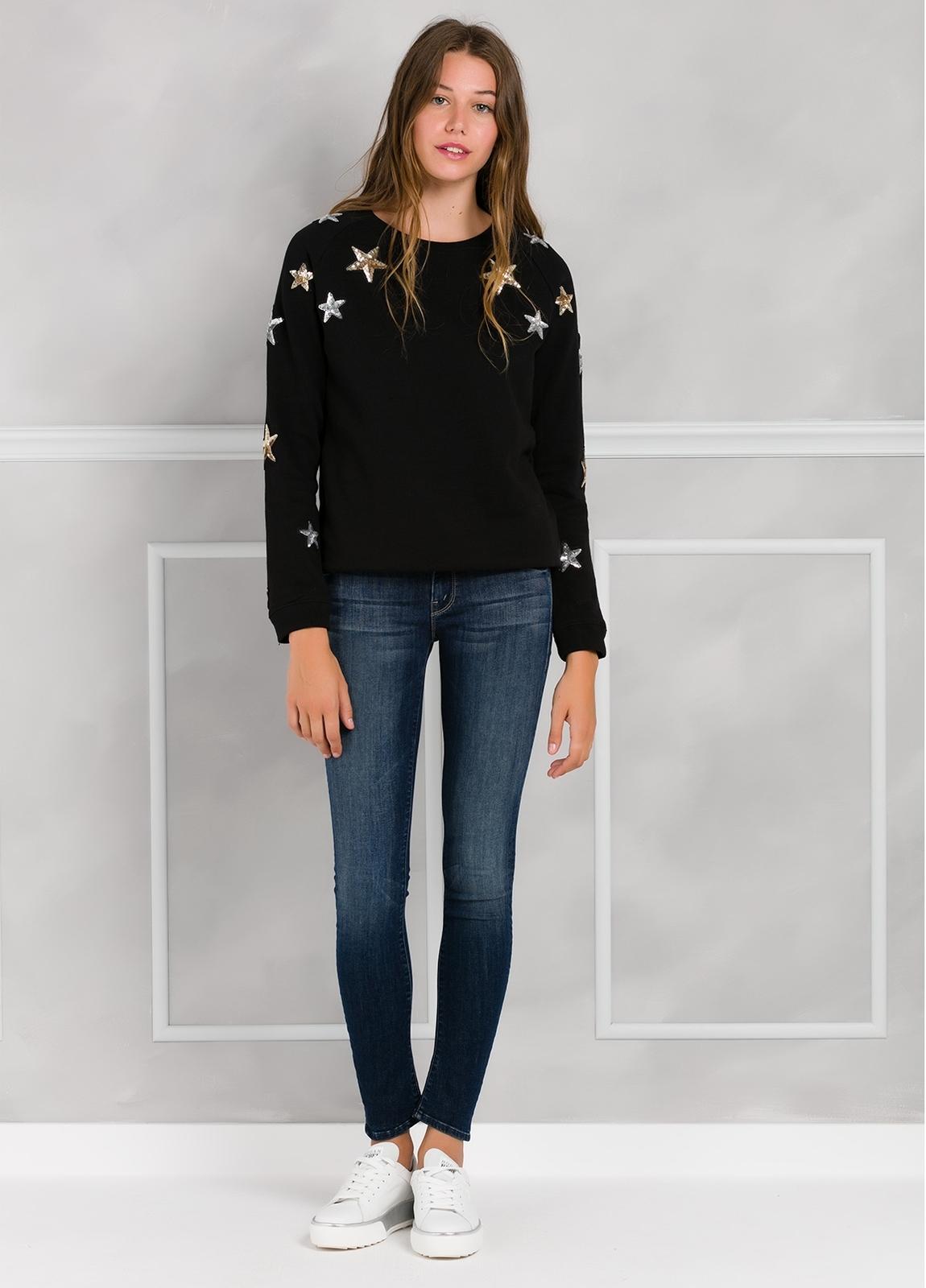 Jersey color negro con estrellas de lentejuelas bordadas. 100% Algodón. - Ítem1