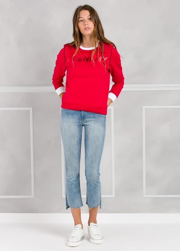 Jersey sport color rojo con estampado gráfico y cintura y puños en contraste. 100% Algodón. - Ítem1