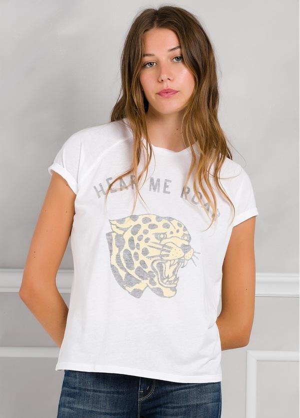 Camiseta manga corta color blanco con estampado de leopardo. - Ítem2