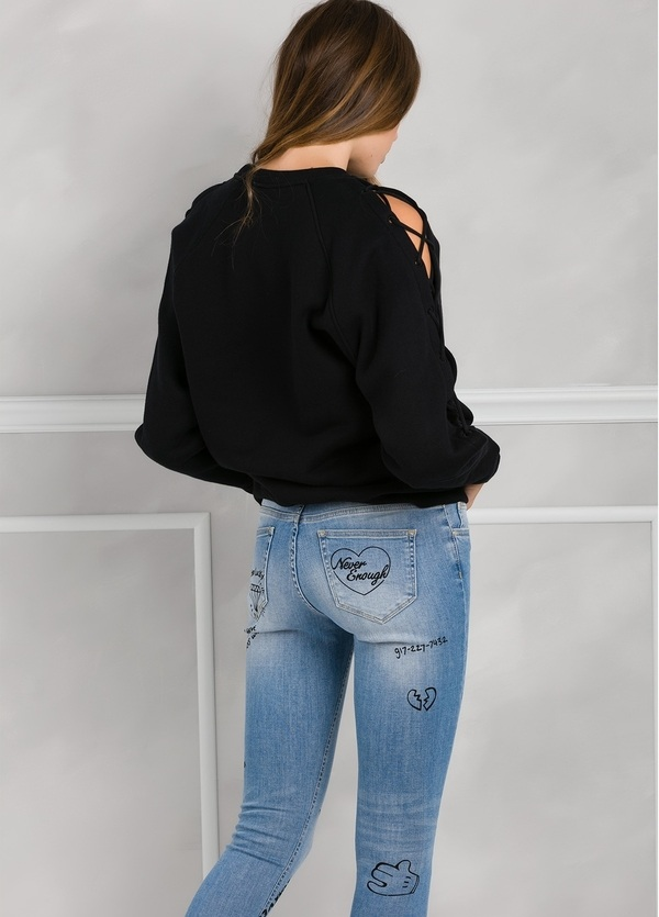 Jersey woman color negro con mangas anudadas. 100% algodón. - Ítem2