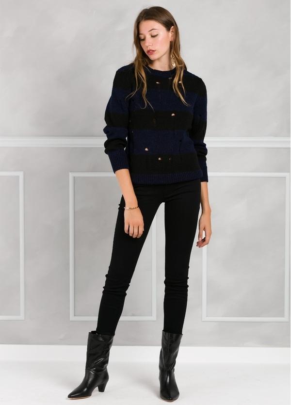 Jersey de punto con diseño de rayas y detalles calados, color azul y negro. - Ítem1