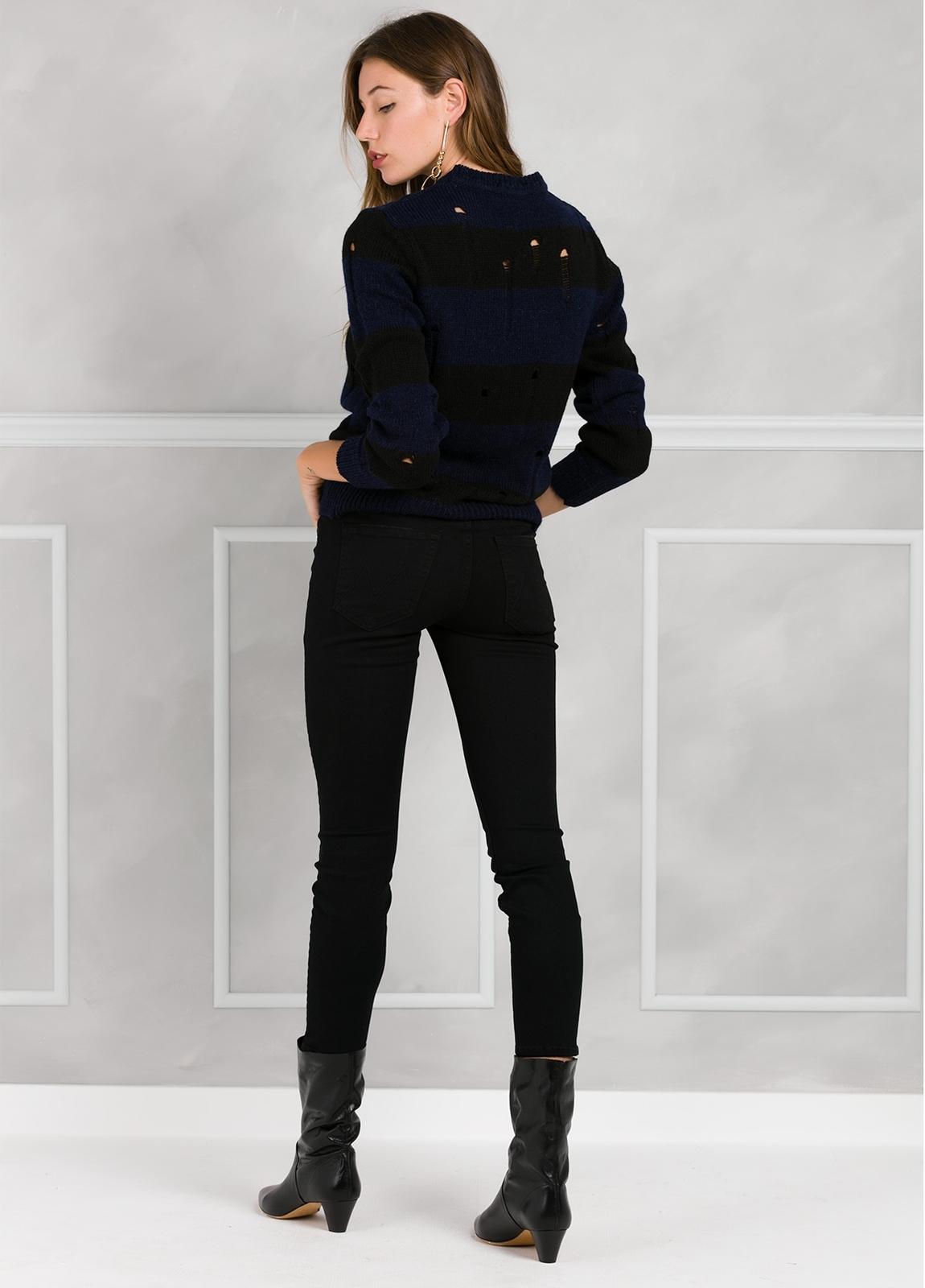 Jersey de punto con diseño de rayas y detalles calados, color azul y negro. - Ítem2