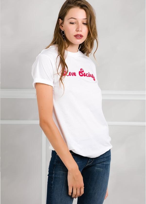 Camiseta woman manga corta color blanco con motivo gráfico.