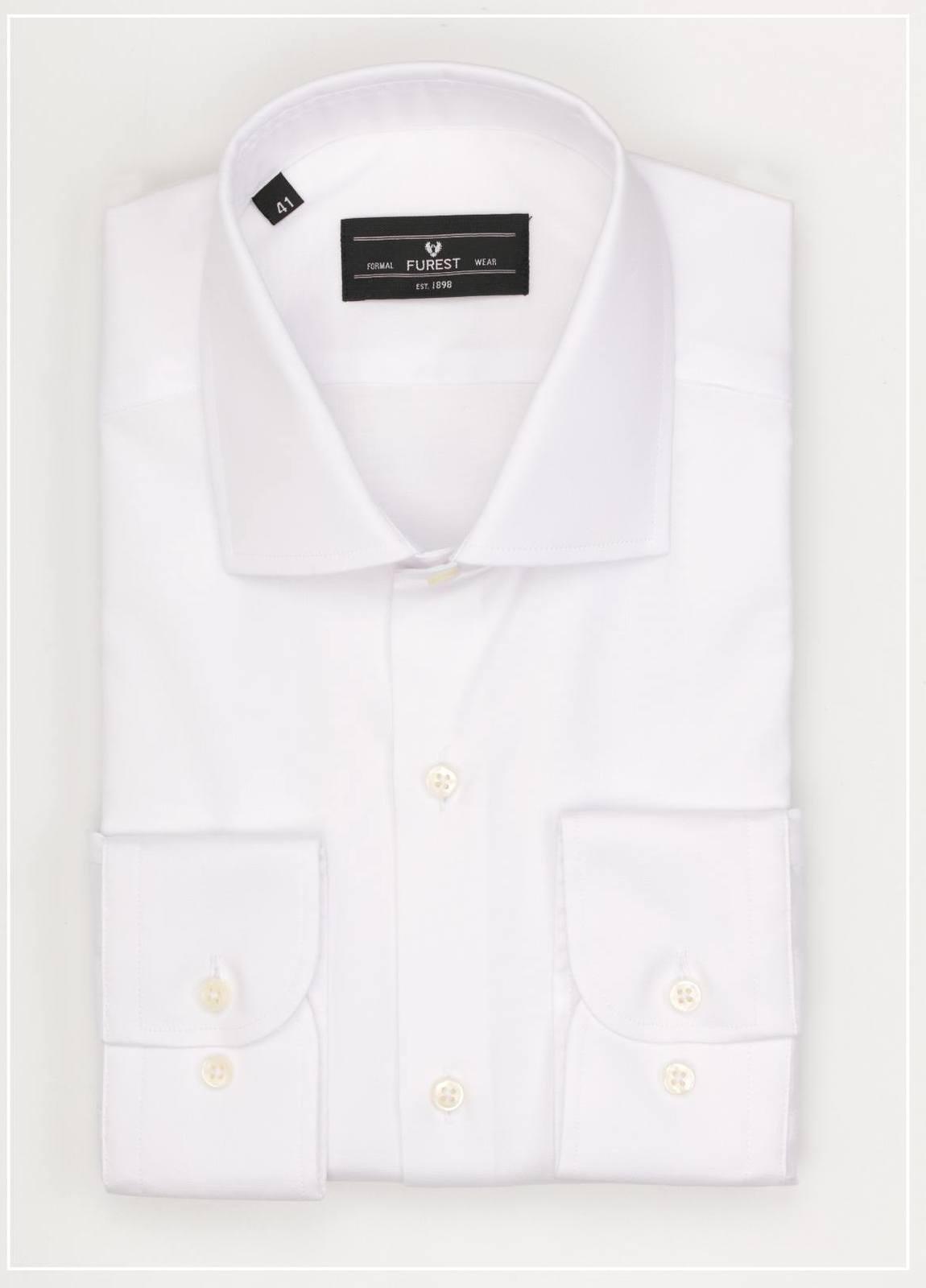 Camisa Formal Wear REGULAR FIT cuello italiano modelo TAILORED NAPOLI tejido color blanco, 100% Algodón.