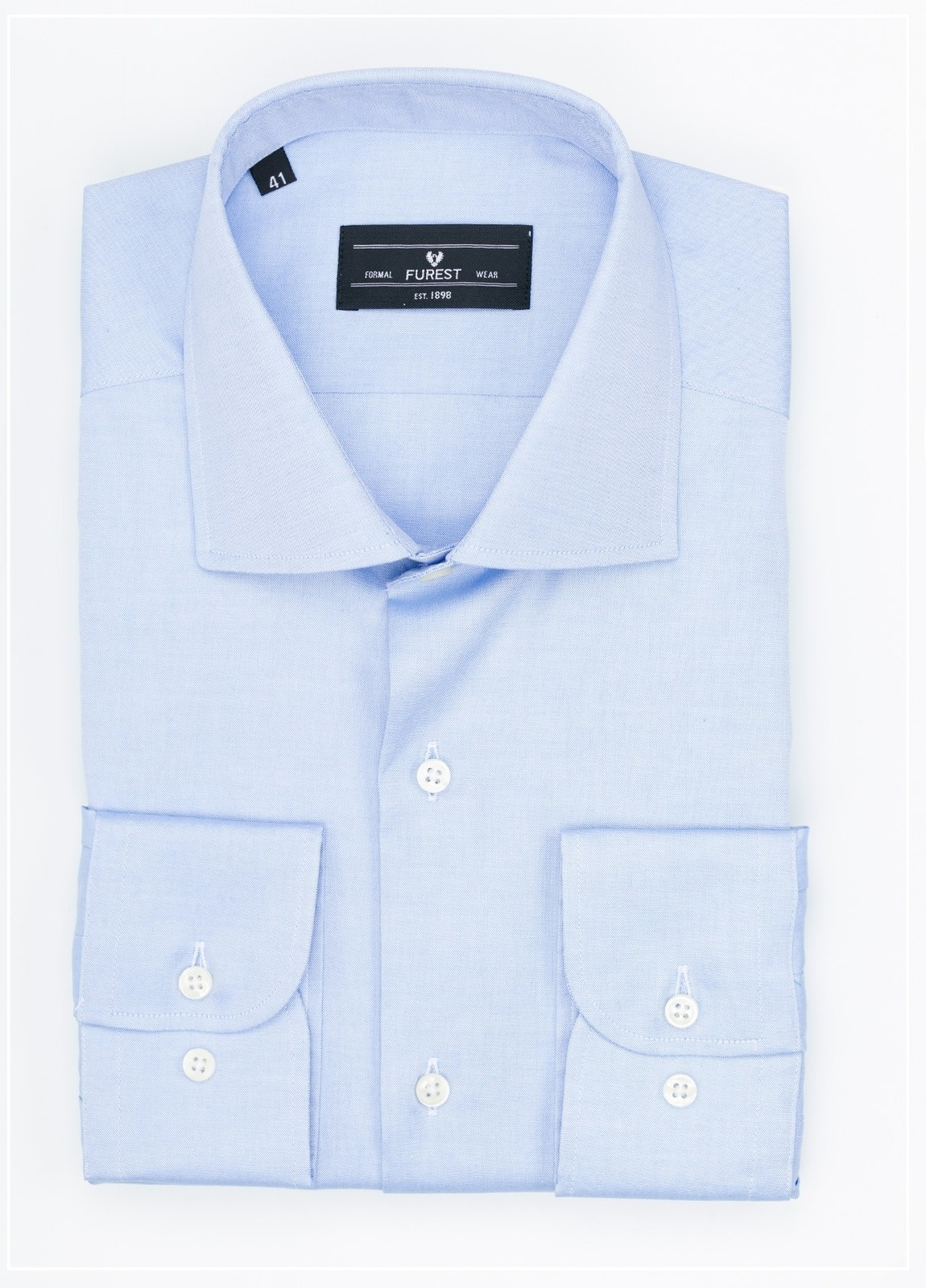 Camisa Formal Wear REGULAR FIT cuello italiano modelo NAPOLI tejido color celeste, 100% Algodón.