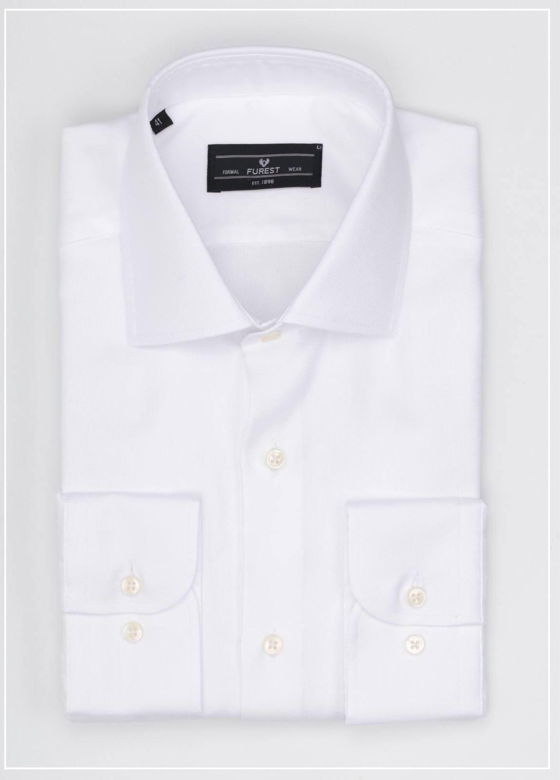 Camisa Formal Wear REGULAR FIT cuello italiano modelo NAPOLI tejido micrograbado color blanco, 100% Algodón.