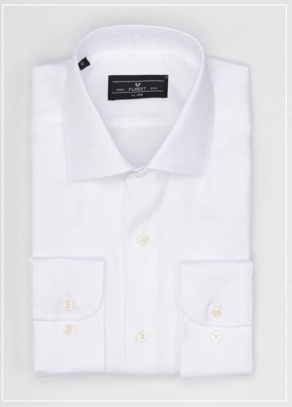 Camisa Formal Wear REGULAR FIT cuello italiano modelo NAPOLI tejido micrograbado color blanco, 100% Algodón.