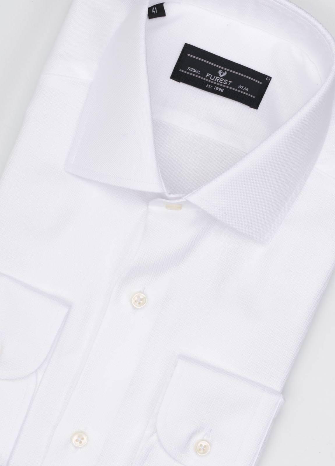 Camisa Formal Wear REGULAR FIT cuello italiano modelo NAPOLI tejido micrograbado color blanco, 100% Algodón. - Ítem1