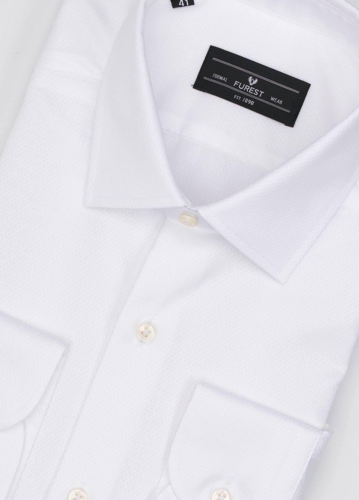 Camisa Formal Wear SLIM FIT cuello italiano modelo ROMA tejido micrograbado color blanco, 100% Algodón. - Ítem2